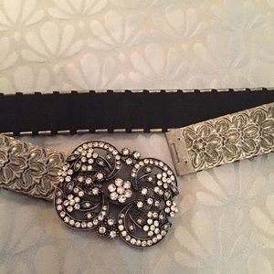 Silver Rhinestone Bling Belt Stretch 29.5""